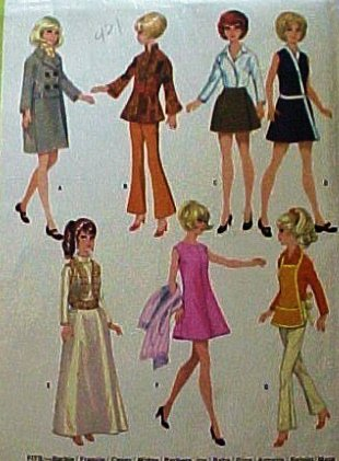 Mccalls 9605 Sewing Pattern 1960s Teenage Wardrobe for Barbie: Gene Outfit, Coat Apron Dress
