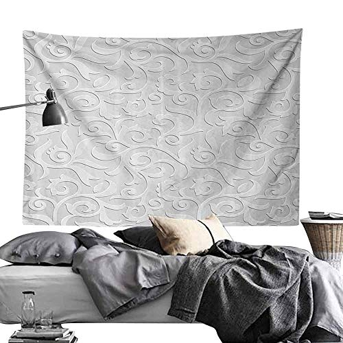 Hall Tapestry Silver Abstract Natural Ivy Leaves Flowers Curly Branches Vine Victorian Style Pattern Bedroom Home Decor W60 x L40 Gray ()