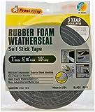 "Rubber Foam Weatherseal Self Stick Tape Weather Strip Tape 1"" x 5/16"" x 10'"
