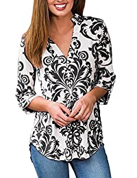 Simaier Women's Shirts Casual Tops 3/4 Long Sleeve Floral Tunics