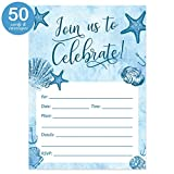 Beach Party Invitations with Envelopes ( Pack of 50 ) Fill-In Milestone Birthday, Retirement Party Invites Excellent Value Wedding, Graduation, Anniversary Party Nautical Invitations VI0059
