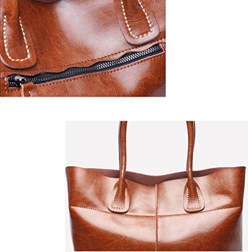 MIMI KING axelväska äkta läder stor kapacitet för kvinnor dammode avslappnad mjuk tygväska 32 x 12,5 x 26 cm, brun