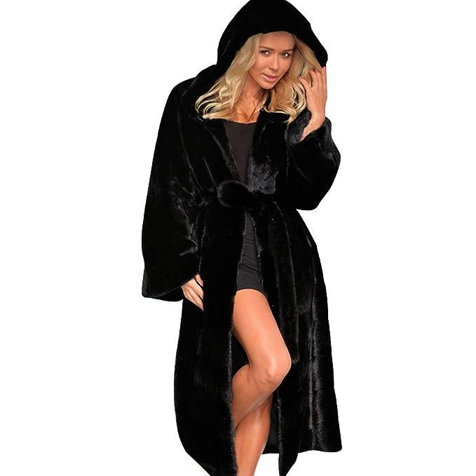 ... Lana Mujer Invierno, PAOLIAN Chaquetas Largas Faux Fur otoño Señora Rebajas Chaquetas Pijama Dama con Faja y Capucha chaquetón Acolchado Tallas Grandes ...
