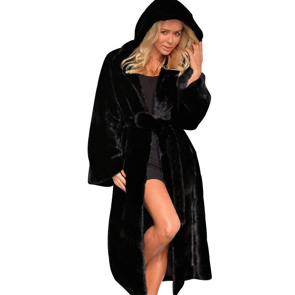 kingf Womens Faux Fur Warm Winter Hooded Long Coat Jacket Parka Outwear Trench kingfansion Women