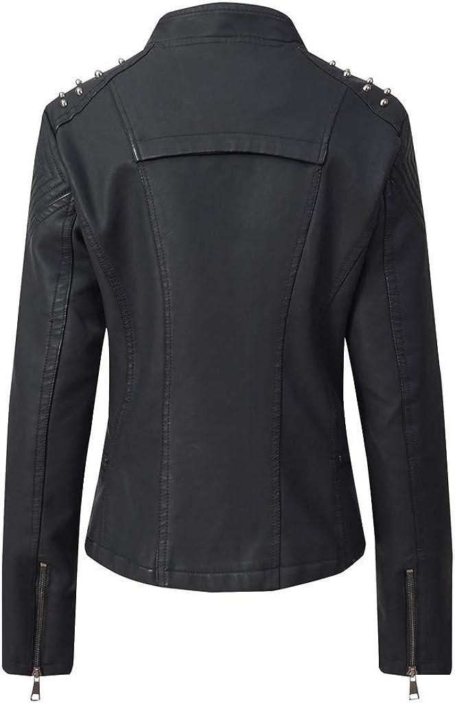 kolila Womens Tailoring Faux Leather Moto Biker Jacket with Pockets Short Coat Long Sleeve Zipper Closure 003beige