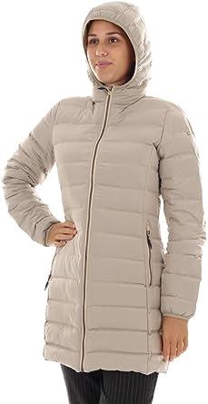 CMP Daunenjacke Jacke Woman Long Jacket FIX Hood BEIGE