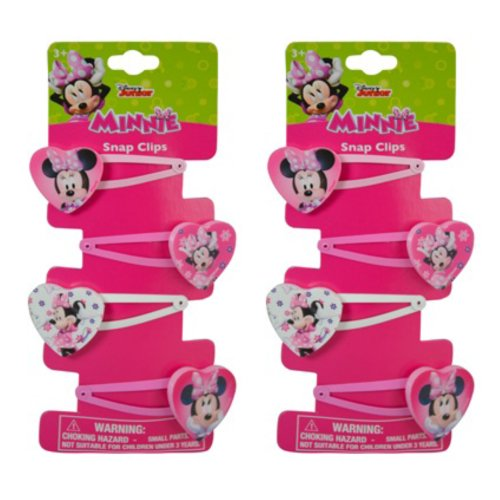 Hair Snap Clips Barrets with Plastic Motifs (8 clips, Disney Minnie Mouse (Heart -