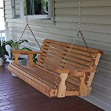 amish wood - Amish Heavy Duty 800 Lb Roll Back 5ft. Treated Porch Swing With Cupholders - Cedar Stain