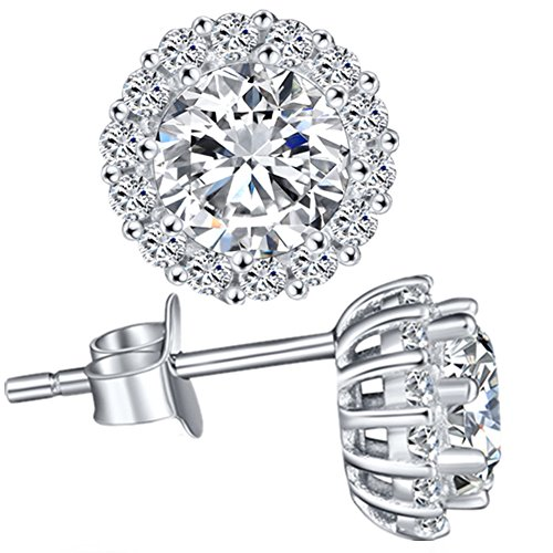 MABELLA Sterling Silver CZ Halo Stud Earrings Round Cut Cubic Zirconia Rhodium Plated for Womens Sensitive Ears