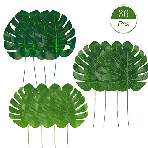 Dragang Palm Leaves Artificial Tropical Leaves Decorations,Palm Leaf for Party Decorations,Jungle Party Decorations,3 Different Sizes, 12pcs Each by Dragang (Image #7)