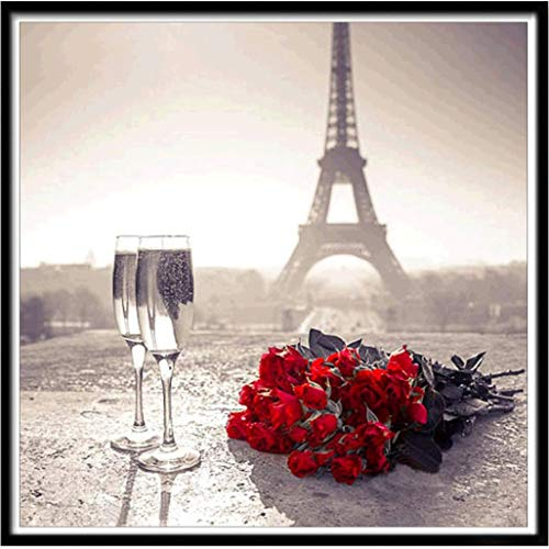 (Cinhent Diamond Painting, Large 5D Embroidery Rhinestone Pasted DIY Cross Stitch, 30 x 30CM, Paris Eiffel Tower Red Rose, Creative Symbol of Romantic Love, Drawing)