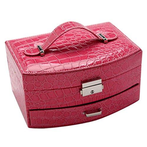 Happy Cherry Schmuckschatulle PU Leder Krokodil Schmuckaufbewahrung Doppelschicht Ring Ohrringe Manschettenknöpfe Schumck-Box Jewelry Box mit Verschluss Schmuckkästchen - Rosa rot