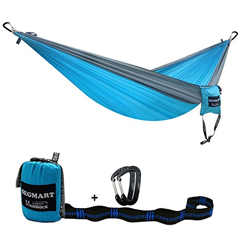 SEGMART Double Hammock with Tree Straps Carabiners - Light blue/Silver