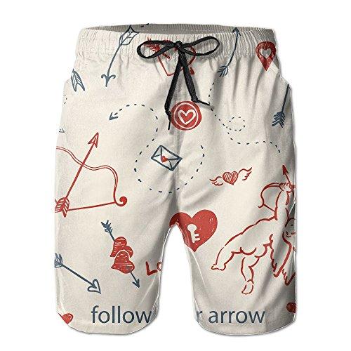 Price comparison product image GSSHA Heart Arrow Archery Love Heart Men's Beach Shorts Pants Casual Men's Home Shorts Pants Medium