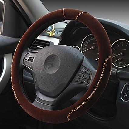Hivel Hiver Couleur Hit Peluche Couvre Volant Voiture Doux Chaud Anti Slip Hit Color Vehicule Auto Car Steering Wheel Cover 38cm - Bleu CAR-WHEEL35-BLU