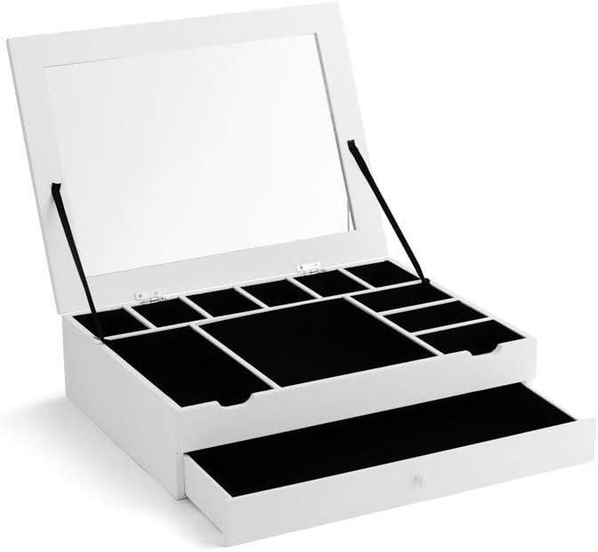 LIFA LIVING Bo/îte /à Bijoux en bois blanc Bo/îte de rangement pour bijoux 11 compartiments style moderne Bo/îte pour boucles doreilles avec miroir