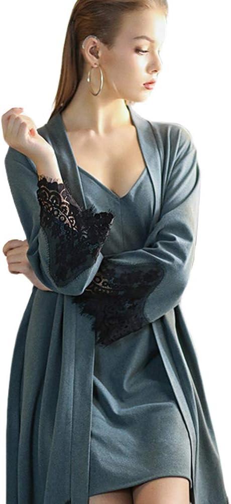 WX-ICZY De Las Mujeres Batas Pijamas, otoño de Terciopelo Pijama de la Mujer Atractiva y de Invierno de Dos Piezas de Vestido de Las Mujeres más Larga túnica Inicio Servicio de Albornoz,Azul: