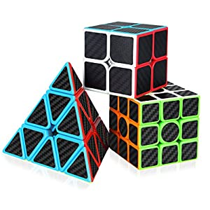 Dreampark Speed Cube Bundle [3 Pack] 2x2x2 3x3x3 Pyramid Carbon Fiber Sticker Cube Set Magic Puzzle Cube Toys for Kids and Adults