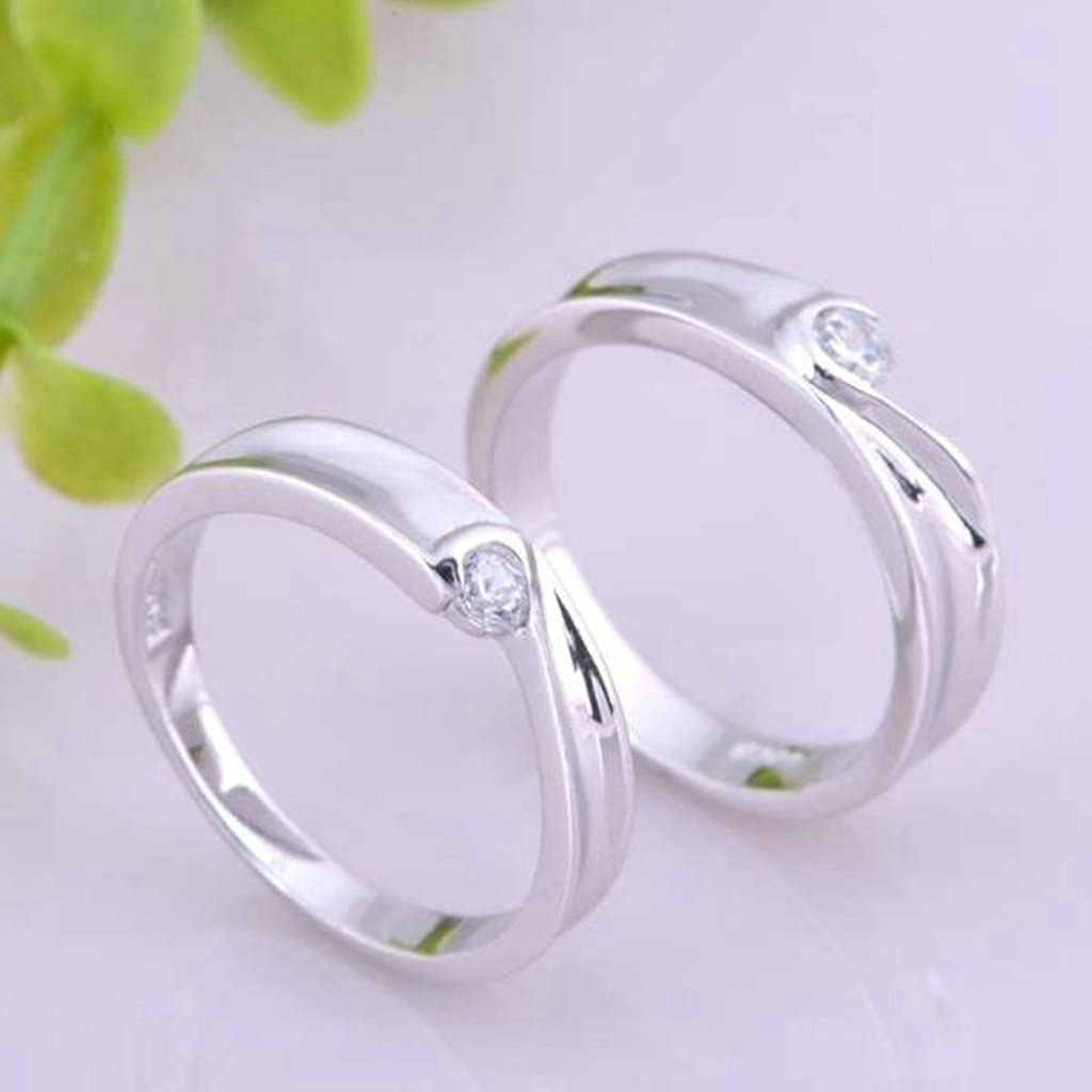 Anniversary Rings CZ Heart Puzzle Rings For His Matching Rings 5mm Size 5 Gnzoe Jewelry Silver