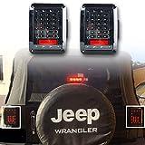 LITE-WAY (Pack of two) Jeep JK Wrangler Clear Lens 07-15 JK LED Brake Tail Lights Bulb Assembly Conversion Rear Turn Singal Reverse Lights (JK-LT-US)