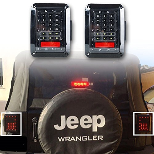 LITE-WAY (Pack of two) Jeep JK Wrangler Clear Lens 07-15 JK LED Brake Tail Lights Bulb Assembly Conversion Rear Turn Singal Reverse Lights (JK-LT-US) (Jk Led Tail Lights compare prices)