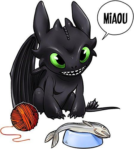 Parodia Dragon Trainer OKIWOKI Canotta da Donna Nera Dragon Trainer umoristico con Sdentato Ref:825