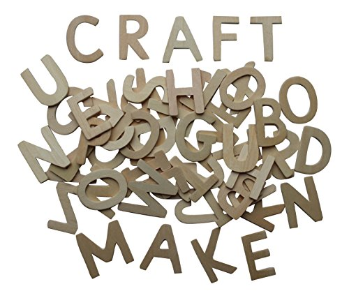 120 Wooden Capital Letters 4.5cm tall and 4mm thick + Kids B Crafty Games Sheet by Kids B Crafty