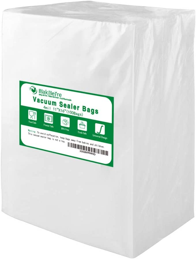 Premium!! MakMeFre 100 Gallon Size 4mil 11x16Inch Vacuum Sealer Bags for Food Saver,Seal a Meal Vac Sealers,BPA Free,Heavy Duty,Sous Vide Vaccume Safe,Upgrade Design Pre-Cut Bag