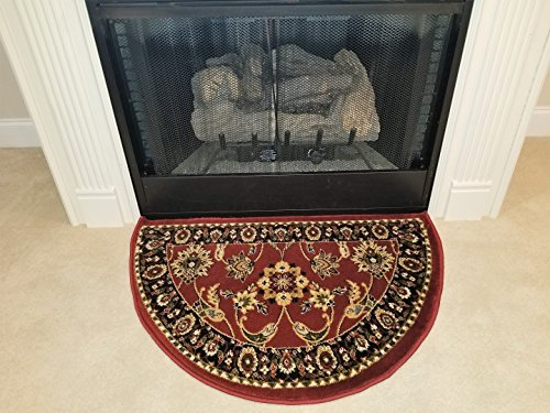 GAD Traditional Design Red Hearth Rug Fire Flame Resistant 2'2
