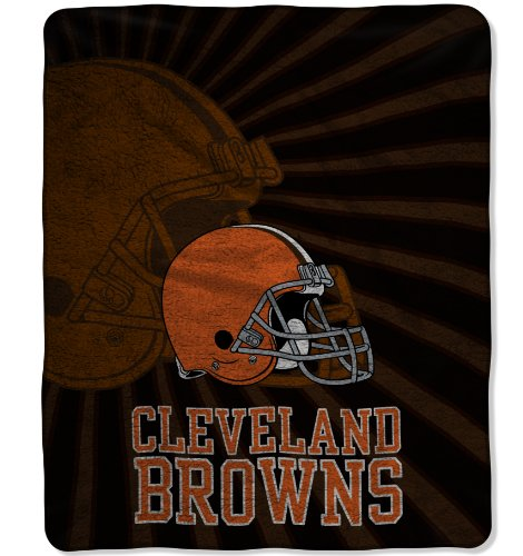 Officially Licensed NFL Cleveland Browns Strobe Sherpa on Sherpa Throw Blanket, 50