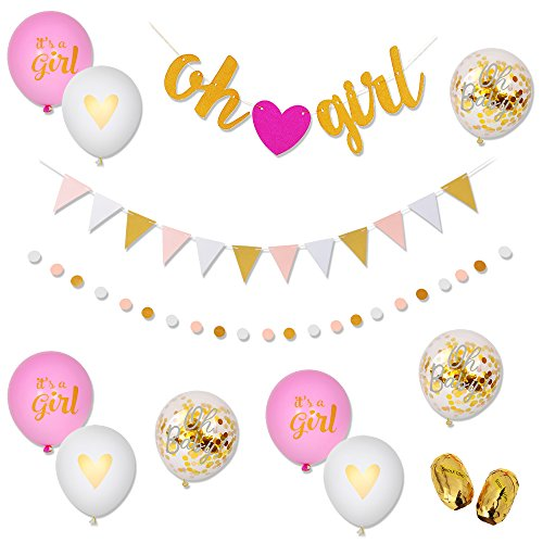 Baby Shower Decorations for Girls Pink Gold White Decor Banners [Oh Girl, Triangle] Polka Dot Garland & 9PC Balloons [Pink, Confetti, White, Gold] Set Glittery Baby Birthday Party -