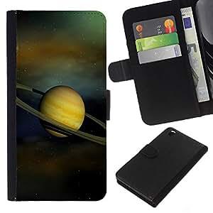 KingStore / Leather Etui en cuir / HTC DESIRE 816 / Anillos de Saturno Sistema Solar Planet Cosmos