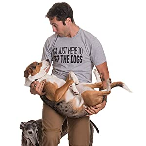 Ann Arbor T-shirt Co. I'm Just Here to Pet The Dogs | Funny Doggo Good Boy Puppy Dad Father T-shirt-(Adult,L)