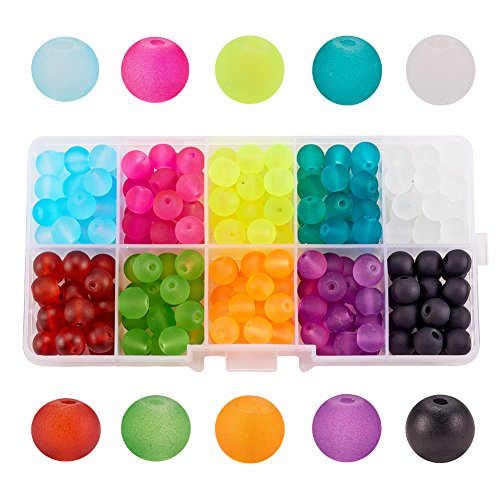 PH PandaHall 1 Box (about 240 pcs) 10 Color 8mm Round Transparent Frosted Glass Beads Assortment Lot for Jewelry ()