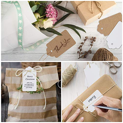 SallyFashion Paper Gift Tags, 100 PCS White Gift Tags 100 PCS Brown Gift Tags with String for DIY Arts and Crafts Christmas DIY Kraft Gift Tags