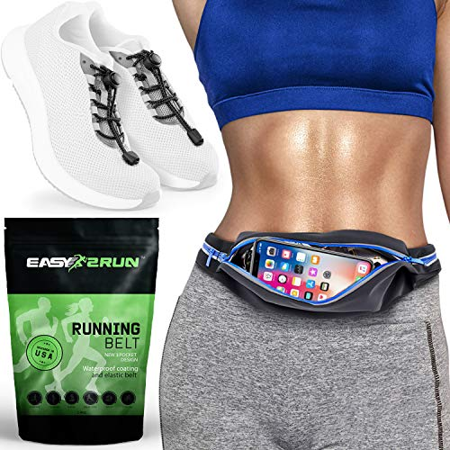 Expandable Waist Pack - 3 Pockets Running Belt USA Design - iPhone X 6 7 8 Plus Pouch for Runners, Expandable Waist Pack, Reflective No Tie Elastic Shoelaces Bundle, Hands-Free Phone Holder Men, Women, Kids - Freerunning Set