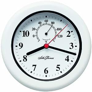 Seth Thomas Aqua White Case with Black Bezel White Dial Round Water Resistant Wall Clock