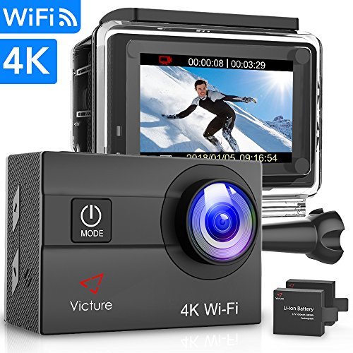 Victure Action Camera 4K WiFi 16MP 98Feet Waterproof Underwater Camera 170° Wide-Angle 2 Inch Screen Sports Cam...