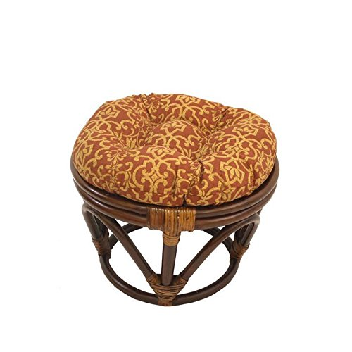 International Caravan 3301-REO-18-IC Furniture Piece Rattan Ottoman with Outdoor Fabric Cushion