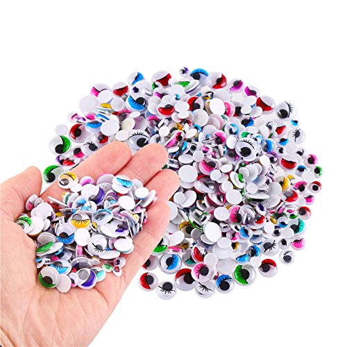 Craft Eyes - CCINEE 500 Pieces 6-12 mm Wiggle Eyes Multi Color Google Eyes with Self Adhesive Eyelash Googly Eyes for Craft Making