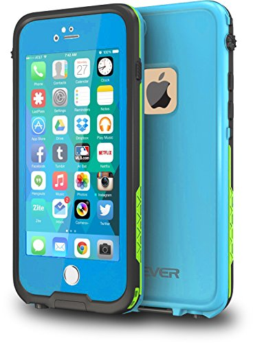 CellEver iPhone 6 / 6s Case Waterproof Shockproof IP68 Certified SandProof SnowProof Full Body Protective Cover Fits Apple iPhone 6 and iPhone 6s (4.7'') - Sky Blue/Lime Green by CellEver