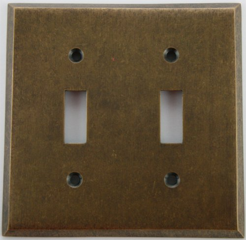 Brass Toggle Switchplate - Classic Accents Aged (Matte) Antique Brass 2 Gang Toggle Switch Wall Plate