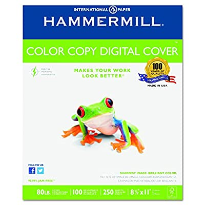 Hammermill Paper, Color Copy Digital Cover, 80lb, 8.5 x 11, Letter, 100 Bright, 250 Sheets / 1 Pack (120023R), Made In The USA