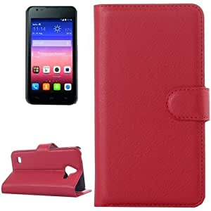 Litchi Texture Horizontal Flip Leather Case with Card Slots & Wallet & Holder for Huawei Ascend Y550 (Red)