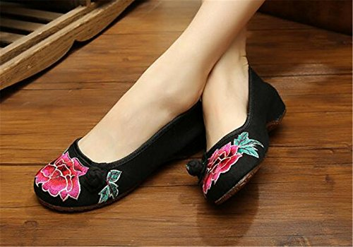 Chaussures Florales Chinoises Brodées Vintage Femme MUDAN Ballerines Mary Jane Ballerine Flat Ballet Cotton Loafer Noir