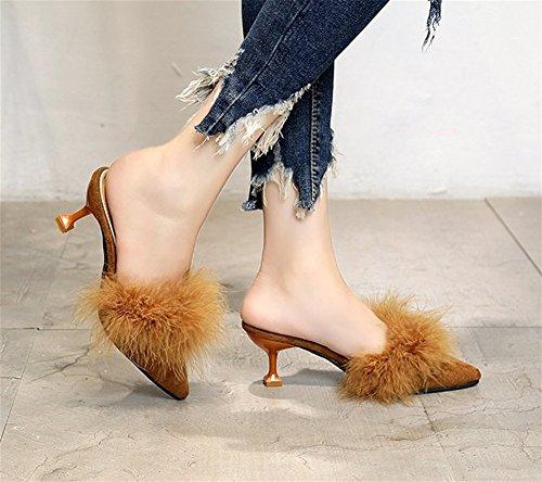 Tone Cheveux Chaussons Autruche Conseils Eté xie Waichuan Mode En Peluche Brown Pantoufles à Femmes Baotou Printemps talons Chaussures Demi 38 hauts Fine Sandales Chaussures Femmes 35 qPPwBCO
