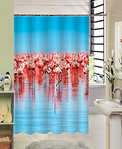 Get Orange red Crown Crane Flamingo Waterproof Polyester Fabric Shower Curtain 72