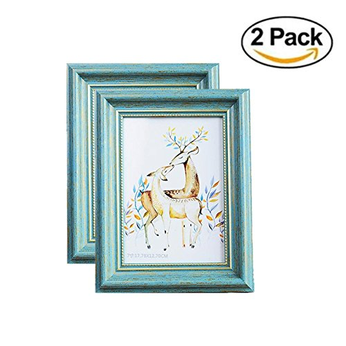 MUAMAX Antique Teal 5 x 7 Inch Picture Frames Finish in Metallic Gold Edge Photo Frames for Horizontally or Vertically Table Top Display and Wall Hanging Turquoise Decor ()
