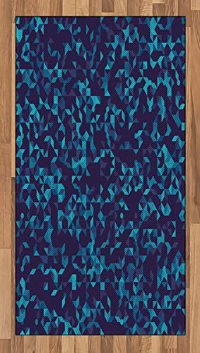 Amazon Com Ambesonne Navy And Teal Area Rug Abstract Triangles