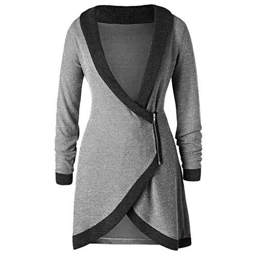 Usstore  Women Knitted Cardigan Fall Winter Fashion Elegant Wrap Coat Shawl Collar Trim Side Short Zipper Daily Long Tops (XXL, Gray)